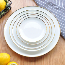 Gold Edge Ceramic Plate Dish White Porcelain Tableware Western-style Dinner Dishes and Plates Sets