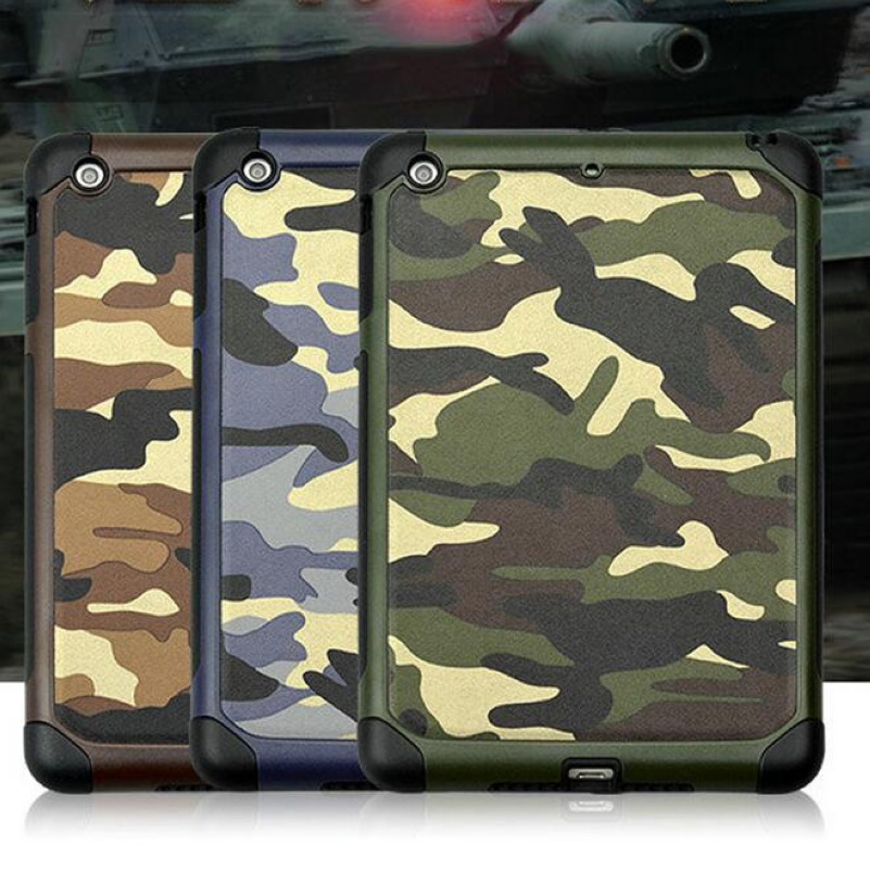 For iPad mini 4 Armor Hybrid Plastic + TPU 2 in 1 Army Camo Camouflage Rear Shockproof Cover Case For iPad mini 4