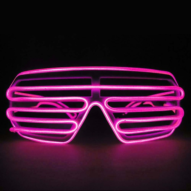 95db8dfaf8f LED EL Wire Glasses Light Up Louvered Shutter Slotted Sunglasses-in ...