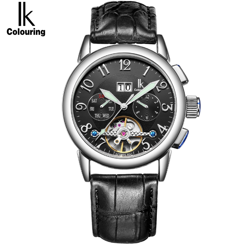 IK Week Day Date Luxury Men Watch Automatic Mechanical Watches Genuine Leather Strap Skeleton Watch Sport Military reloje hombre limited edition seiko 5 sports day date men s automatic mechanical watch srp723
