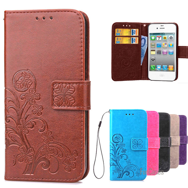 new products 46605 d70b1 US $4.72 27% OFF|Luxury Case For IPHON 4S Book Style Wallet Leather +  Silicon Flip Cover Case For iPhone 4S phone case card holder for iPhone 4  *-in ...