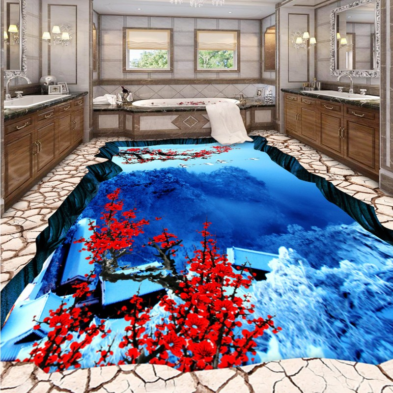 Free Shipping Street park swimming pool snow valley plum 3D painting bathroom living room thickened flooring wallpaper mural