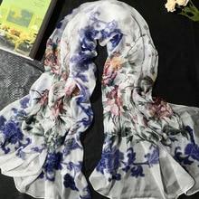 New Woman Silk Scarf Fashion Printed Long Scarf Shawls 100% Silk Scarf Lengthened Widened High-Grade Silk Gift FW215 цена