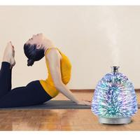100ml 3D Ultrasonic Air Humidifier Aroma Essential Oil Diffuser Glass Humidifier Mist Fogger Maker Home LED Light Home Yoga