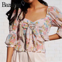 Bazaleas Fashion Center Appliques Heart pearl blouse women Vintage Tops Ruffles blusa feminina Fashion blusas drop shipping