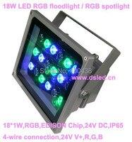 High 18 w outdoor led rgb spotlight  led rgb schijnwerper  goede kwaliteit  2-year garantie  24 v dc  DS-TN-05-18W-RGB