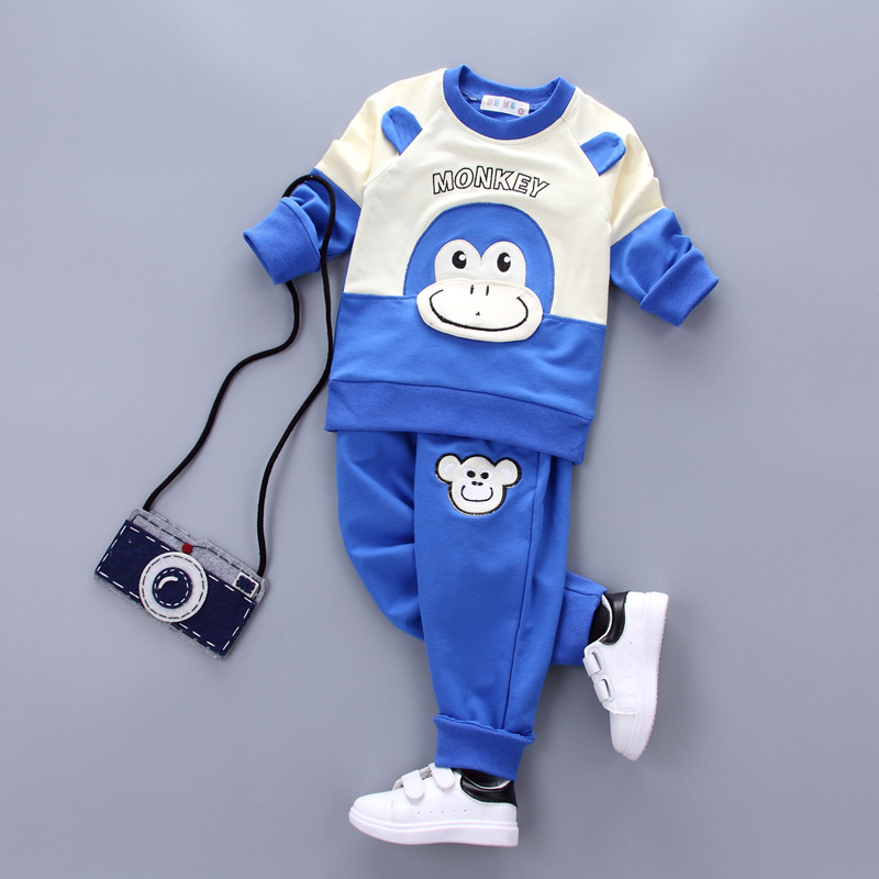 Autumn Brand kids sport suit clothing sets boys hoodies cute cartoon monkey two-piece suit sweatshirts baby boys clothes set