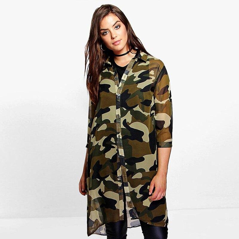 512f886be704e Spring Long Shirt big size chiffon blouse TOPS 2018 Women Fashion Camouflage  Printed Plus Size Blusas 3/4 Sleeve shirt top 6XL