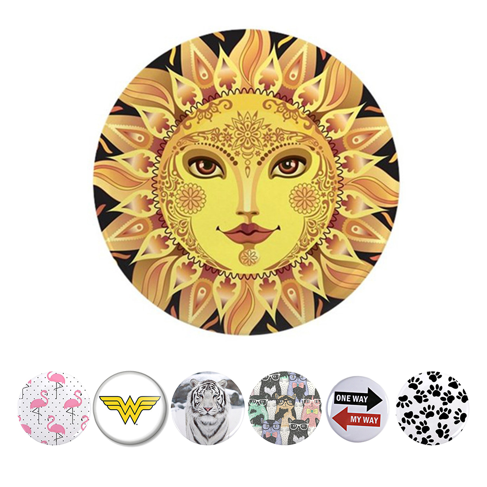 Proelio Sunflower Cat Animal Cartoon Pop Fashion Claw POP Round Phone stand Mount for Smartphones and Tablets Ring for iphone 8