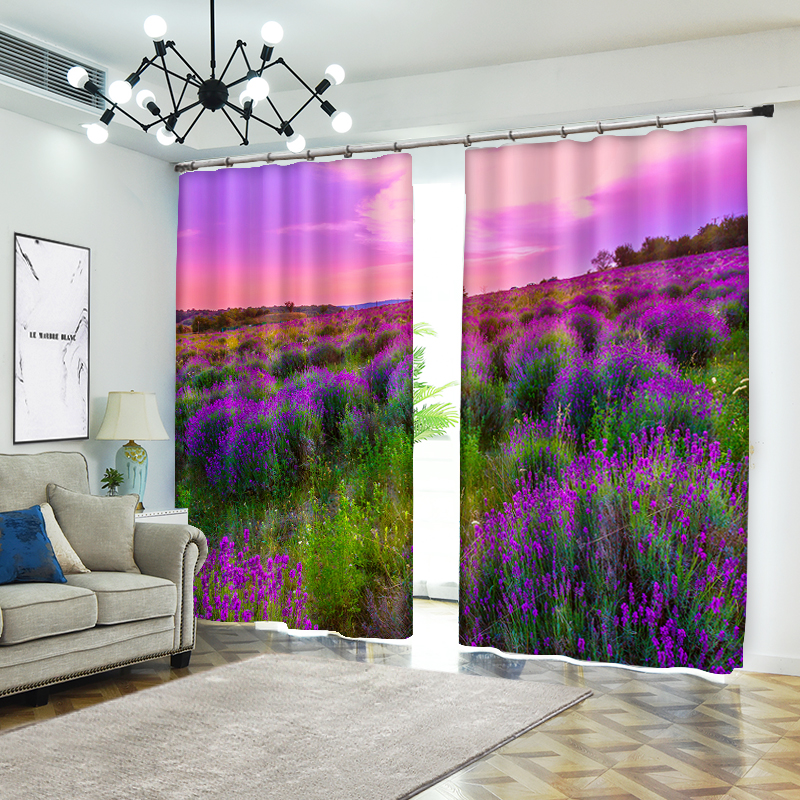 Purple Flowers In Sunset 3D Curtains for Living Room Window Treatments Modern Curtains Beding Room High-precision Shade