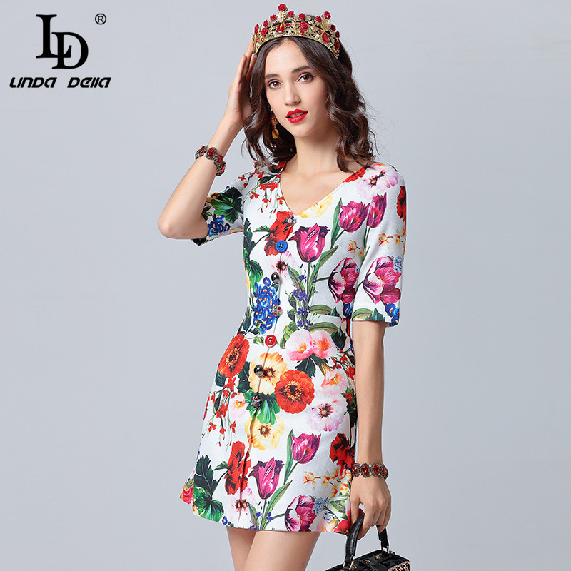 LD LINDA DELLA Runway Designer Summer Dresses Women s Sexy V Neck Button Multicolor Floral Print