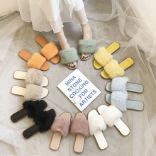 Furry Slippers Women Summer Autumn Indoor Outdoor Cute Fluffy Ladies Fashion Slides 2019 New
