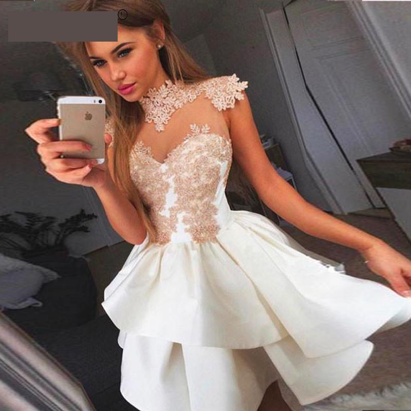 2019 Homecoming   Dresses   A-line High Collar Cap Sleeves Short knee length Lace Elegant   Cocktail     Dresses   Short Formal Gowns