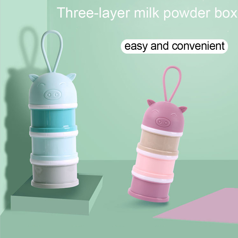 3 Layer Cartoon Baby Milk Powder Boxes Portable Baby Formula Milk Storage Box Food Container Storage Feeding Box For Baby Kids