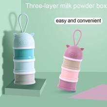 3 layer Cartoon Baby Milk Powder Boxes Portable Baby Formula Milk Storage Box Food Container Storage Feeding Box for Baby kids