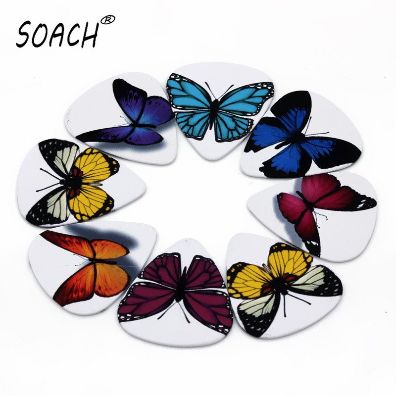 soach 10pcs 0 46mm guitar paddle blue background personality mixed pattern pvc double sided printing instrument accessories SOACH 10pcs 0.71mm butterfly two side earrings DIY design guitar accessories pick guitar picks