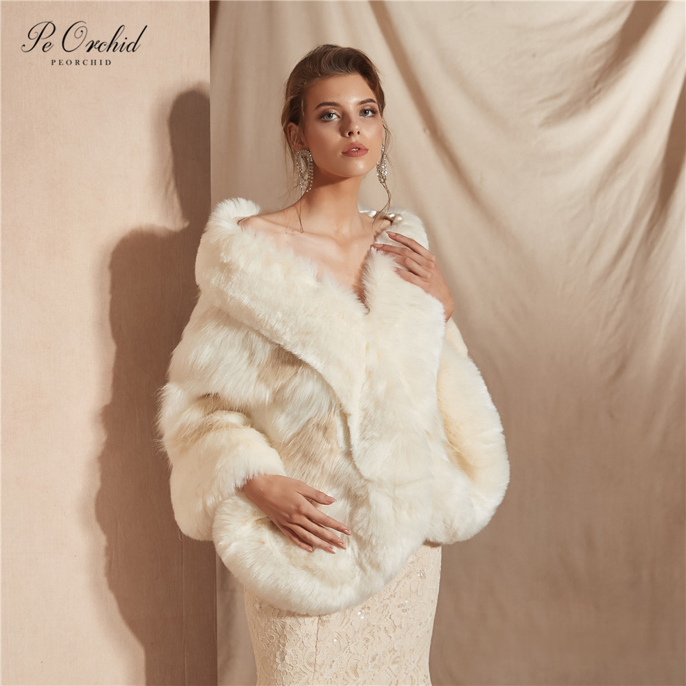 PEORCHID 2019 Winter Evening Shawl For Wedding Cape Jacket In Stock Faux Fur Etole Femme Mariage Bridal Wrap Women
