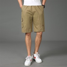 Brand Mens Shorts Summer Casual Pocket Cotton Lightweight Loose Cargo Short Pants Short Shorts Homme Male Bermuda Plus Size drawstring side pocket bermuda shorts