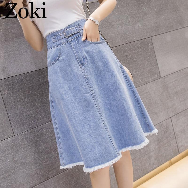 Zoki Summer Women Midi Denim Skirt Fashion Casual Tassel A-line Harajuku Female Light Blue Skirt Jeans Elegant Pocket Moda Mujer