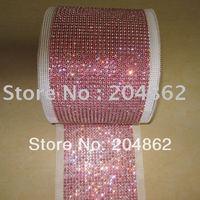 10 yards 24 rijen ROSE Crystal Rhinestone mesh trimmen diamante lint banding cake trim Voor Kledingstuk Meubels Bruiloft decoratie