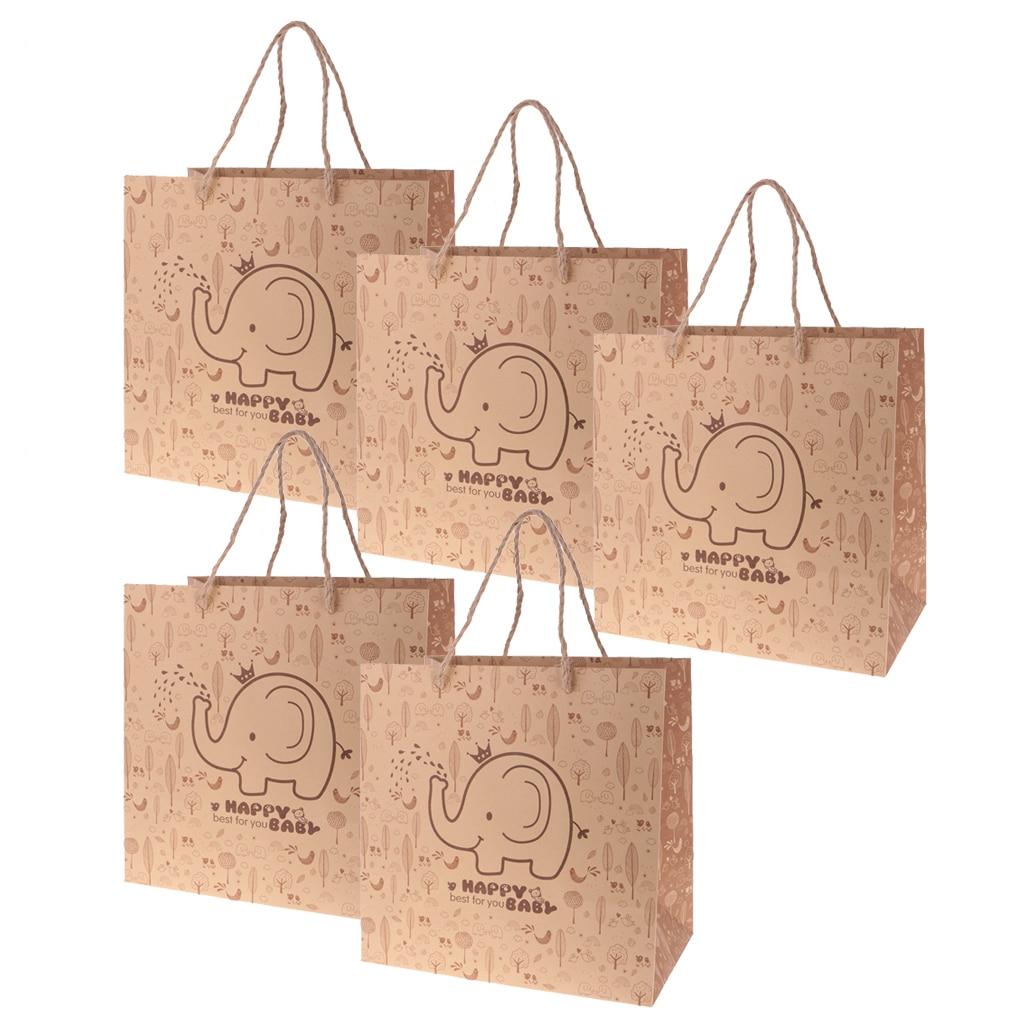 מסיבת חתונה חדשה 5 יחידות נייר קראפט מתנת תיק יד תיק אספקת חתונה שוקולד סוכריות טובת מסיבת תרנגולת פיל Accesssory