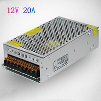 Free Shipping 12V 20A 240W Switching Led Power Supply 100 240V AC Input 12V DC Output