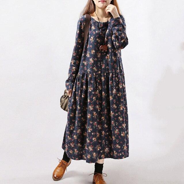 2017 New Women Dresses Autumn Winter Vintage Print Casual Long Sleeve Retro Cotton Maxi Robe Tunic Floral Big Plus Size Dress