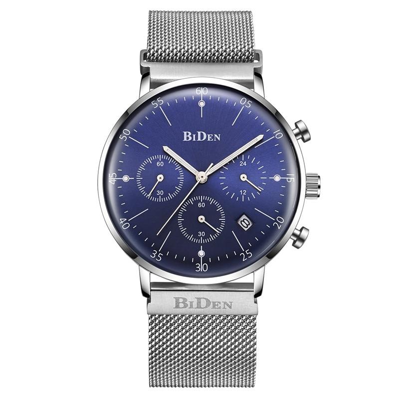 Fashion simple fashion luxury brand biden watch men's stainless steel mesh with thin dial clock men casual quartz watch blue