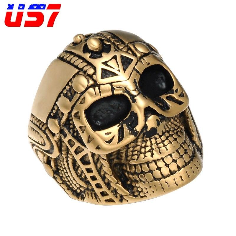 c79b440a8cde US7 Vintage Punk Rock oro Acero inoxidable motociclista esqueleto anillos  Retro cráneo tibetano gótico soldado anillo para hombres joyería regalo