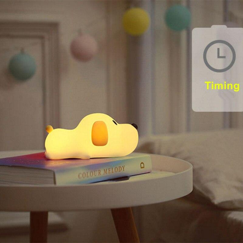 Image 4 - 調光対応 Led ナイトライトランプタッチシリコン子犬漫画ベビーキッズ子供のためのギフトベッドサイドの寝室のリビングルームの装飾    グループ上の ライト