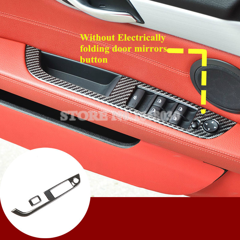 Bmw Z4 2009 For Sale: Carbon Fiber Inner Car Door Window Switch Cover 2pcs For