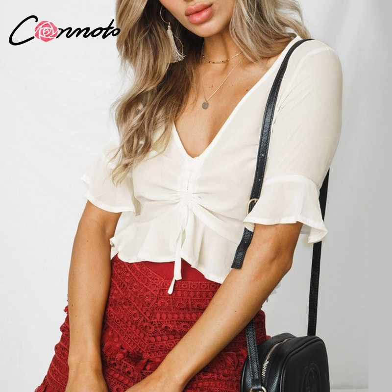 Conmoto White Chiffon   Blouse     Shirt   Red Half Flare Sleeve Casual Women   Blouse   V Neck Sexy Short   Blouse     Shirt   Top