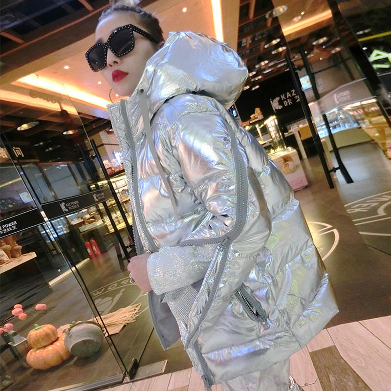 Women 2019 Winter Hooded Metal Silver Down Jacket Female Thicken Warm Cotton Padded Coat   Parkas   Lady Loose Jackets Outerwear 156