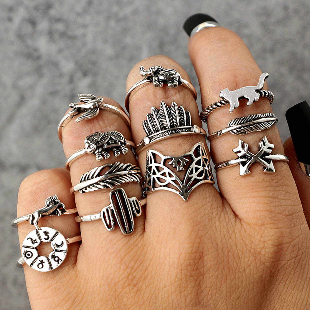 Zerotime #501 2019 NEW FASHION 12PC Set Women Punk Vintage Finger Knuckle Rings Joint Ring Jewelry Gift Luxury hot Free shipping