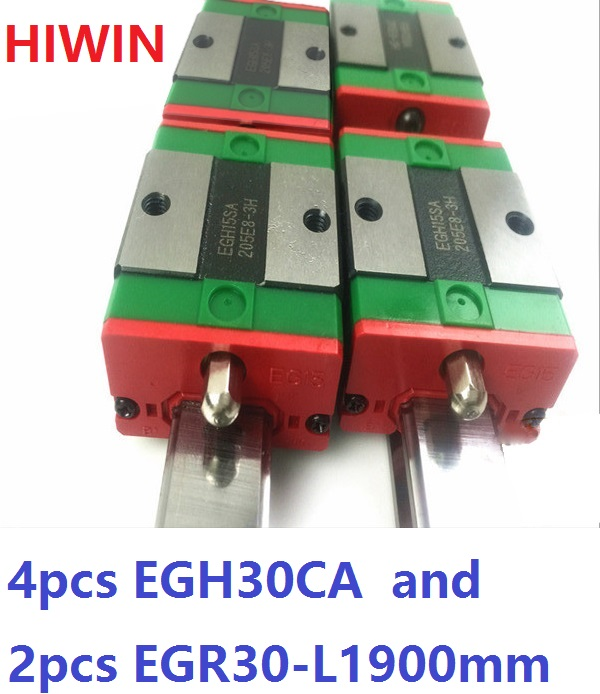 2pcs 100% original HIWIN linear guide rail EGR30 -L 1900mm + 4pcs EGH30CA linear block CNC router 2pcs 100% original hiwin linear guide rail egr30 l 1800mm 4pcs egh30ca linear block cnc router