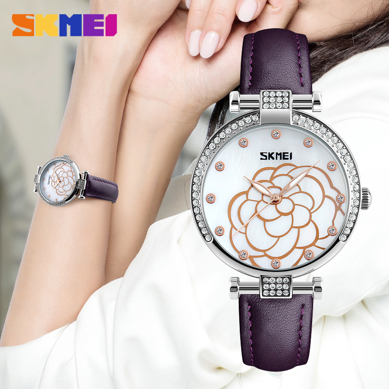 SKMEI Women Fashion Watches Leather Strap Ladies Quartz Watch Luxury Brand Waterproof Dress Casual Wristwatches Relogio Feminino new top brand guou women watches luxury rhinestone ladies quartz watch casual fashion leather strap wristwatch relogio feminino