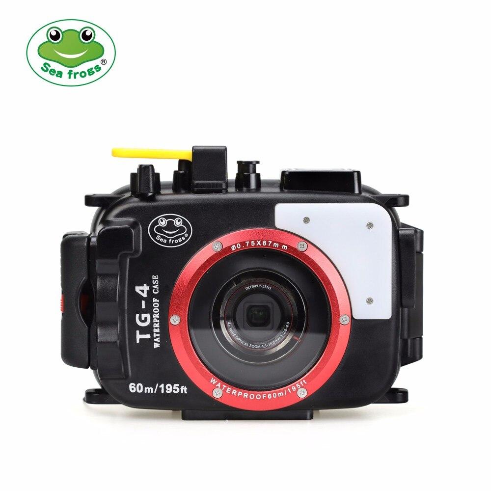 Seafrogs 195FT/60M Underwater camera waterproof diving housing Case for Olympus TG-5 waterproof Black camera Bags