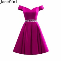 JaneVini 2018 Lebanon Fuchsia Prom Dress Beaded Satin Short Burgundy Bridesmaid Dresses Off Shoulder Party Gown Homecoming Dress