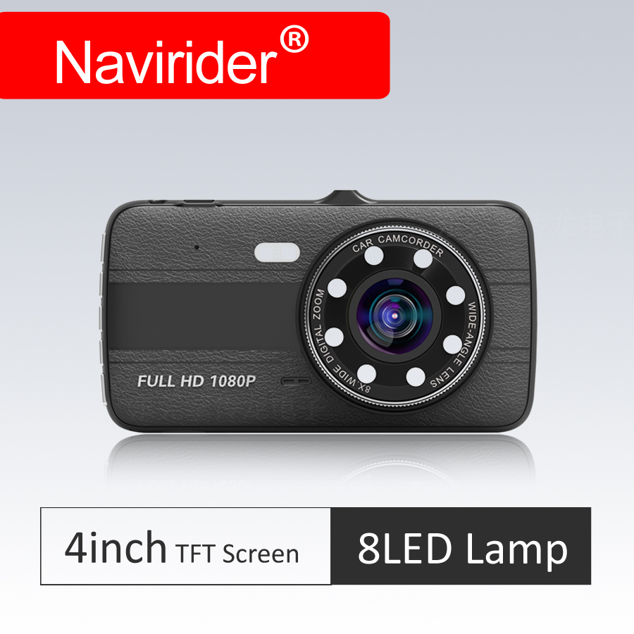 leather pattern Navirider 8Led Lamp design 4 TFT Display 1080P dual lens Dash Camera Car DVR Cam auto Loop Recording G sensor