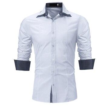 f4903136588 FGKKS Новая Осенняя мужская Повседневная рубашка с длинным рукавом модная  брендовая однотонная мужская s Мужская классическая