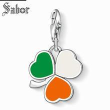 Купить с кэшбэком thomas Irish Shamrock Charm, gifts Jewelry For Women, Gift 925 Sterling Silver Fit Bracelet jewellery charms