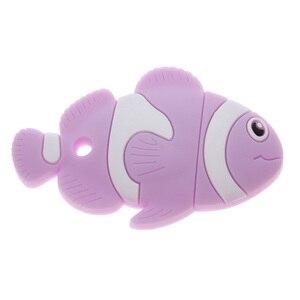 Image 4 - חמוד ליצן דגים 6pcs סיליקון תינוק נשכן דגי ליצן Bpa משלוח לעיסה תינוק בקיעת שיניים סיעוד צעצועי DIY מוצץ שרשרת תליון