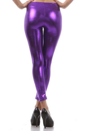 Plus Size Latex Metallic Leggings Candy color Faux Leather Legging Mid Waist Ankle Length Pants Women legging Black / Gold