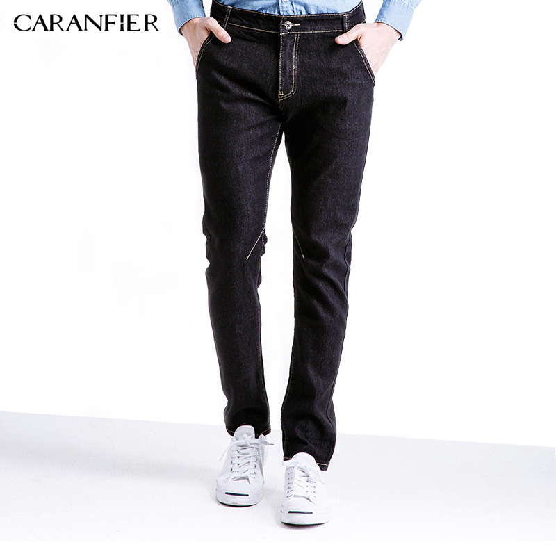 CARANFIER 2017 New Men Jeans Casual Pants Black Classic Whiskering Jeans Straight Denim Jeans Masculina Male Trousers Cotton
