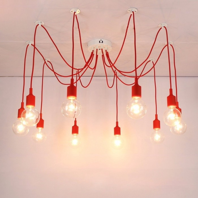 LukLoy Pendant Light, Spider Light Drop Pendant Lamps Colorful ...