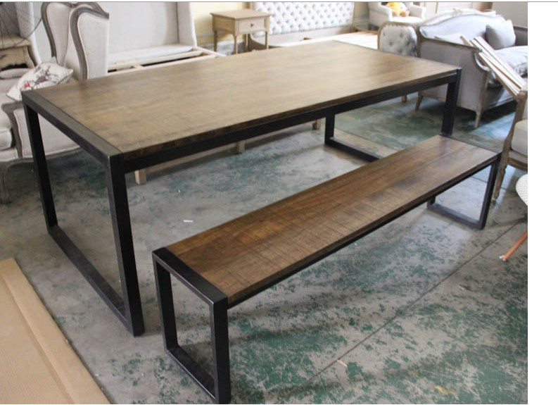 LOFT American Country Style Wrought Iron Wood Bench Big Long Dining Table  And Chairs Do The Old Package Retro Dinette In Coffee Tables From Furniture  On ...