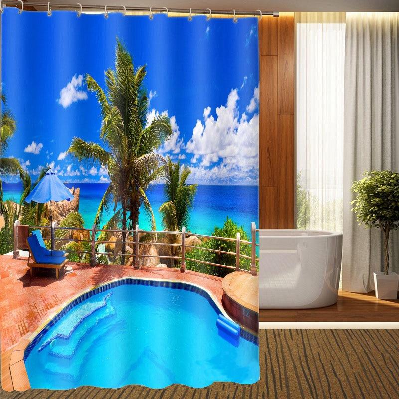 MYRU 3D Print Waterproof Swimming Pool Shower Curtains