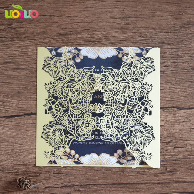 Popular Marathi Wedding Card Matter Laser Cut Design Wedding Favor Blue Card Lace Invitation Card With Cheap Price