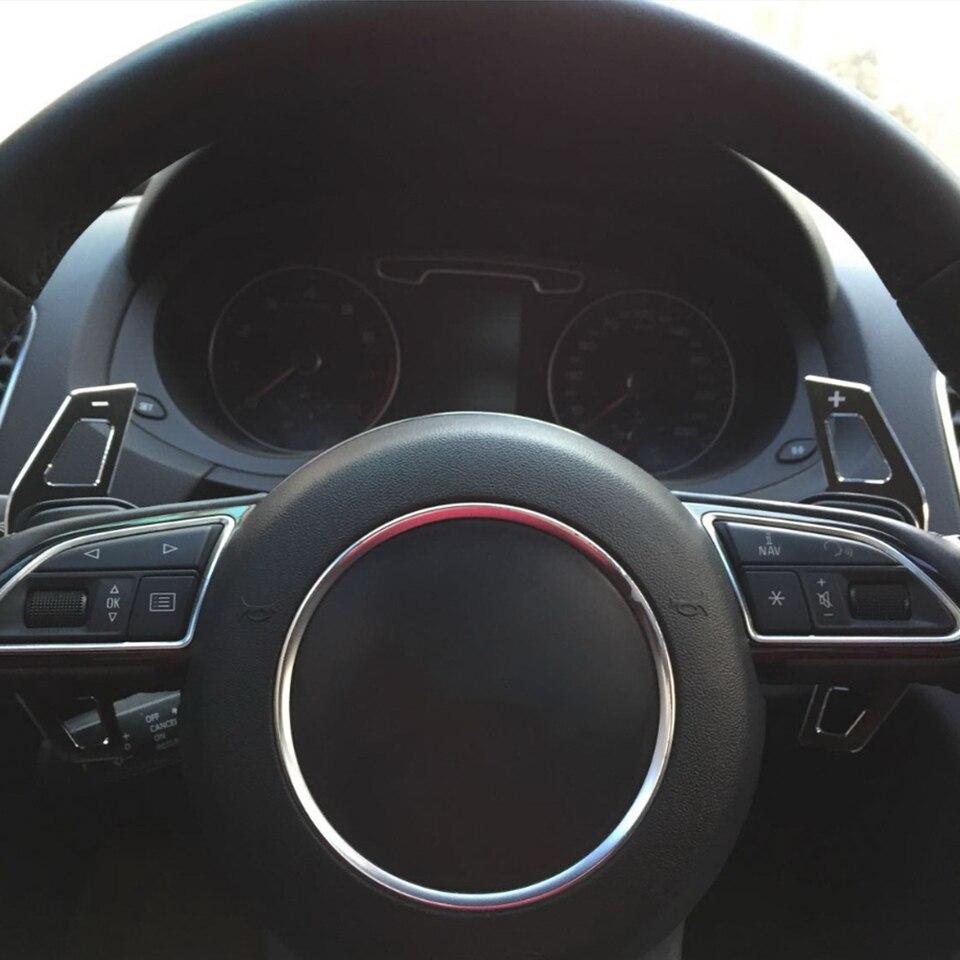 S3 Lifting A5 S5 2017 A4 B9 Q7 2016-2017 TT TTS-Noir CHNY 1 Paire de manettes de Changement de Vitesse de Volant de Voiture en Aluminium pour Audi A3