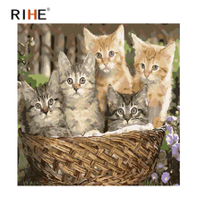 RIHE Cat Basket Diy Painting By Numbers Cute Animal Oil On Canvas Hand Painted Cuadros Decoracion 2018 Acrylic Paint